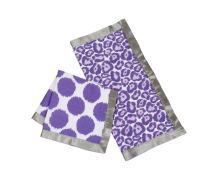 Bacati - Ikat Muslin 2 Pc Security Blankets (Grey/Purple)