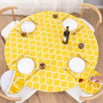 """UMINEUX Round Fitted Vinyl Tablecloth with Elastic Edged & Flannel Backing, Waterproof Wipeable Round Table Cover for Indoor Outdoor Patio Use - Fits Tables up to 36"""" - 42"""" Diameter(Yellow Moroccan)"""
