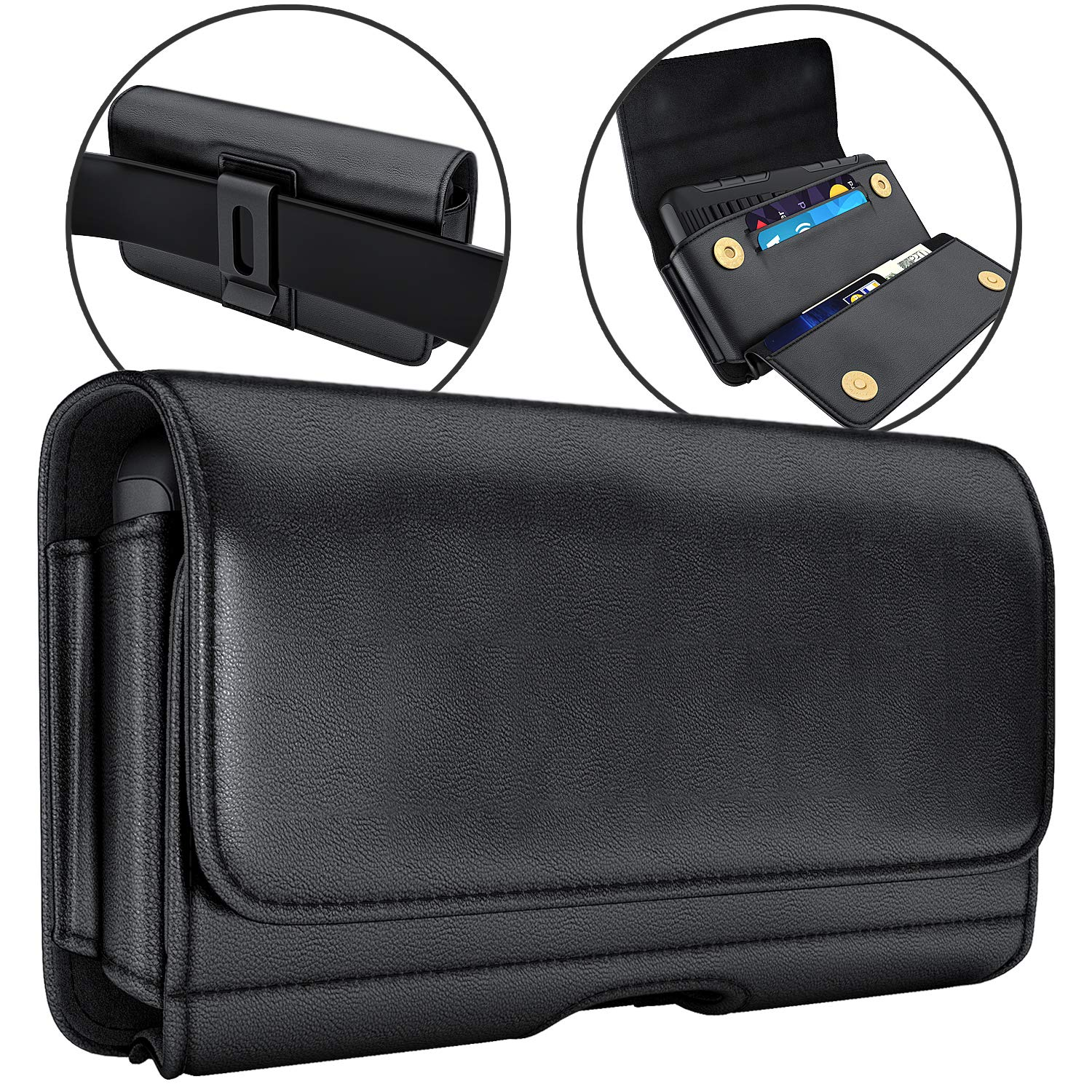 De-Bin iPhone 11 Holster, iPhone XR Holster, Leather Belt Case with Clip Cell Phone Pouch Belt Holder for iPhone 11 and iPhone XR (Fits Phone w/Other Case on)
