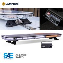 "LAMPHUS SolarBlast SBFB98 47"" 98W Amber White LED Emergency Full-Size Light Bar [SAE J595 Class III] [58 Flash Mode] [Controller Box] [Gutter Bracket] Yellow Flashing Rooftop Strobe Warning Light Bar"