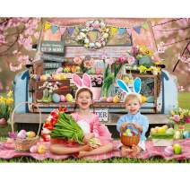 Maijoeyy 7x5ft Spring Easter Backdrop Car Full of Colorful Eggs Flowers Rabbit Happy Easter Backdrops for Photography Kids Newborn Easter Party Decoration Banner Photo Booth Props