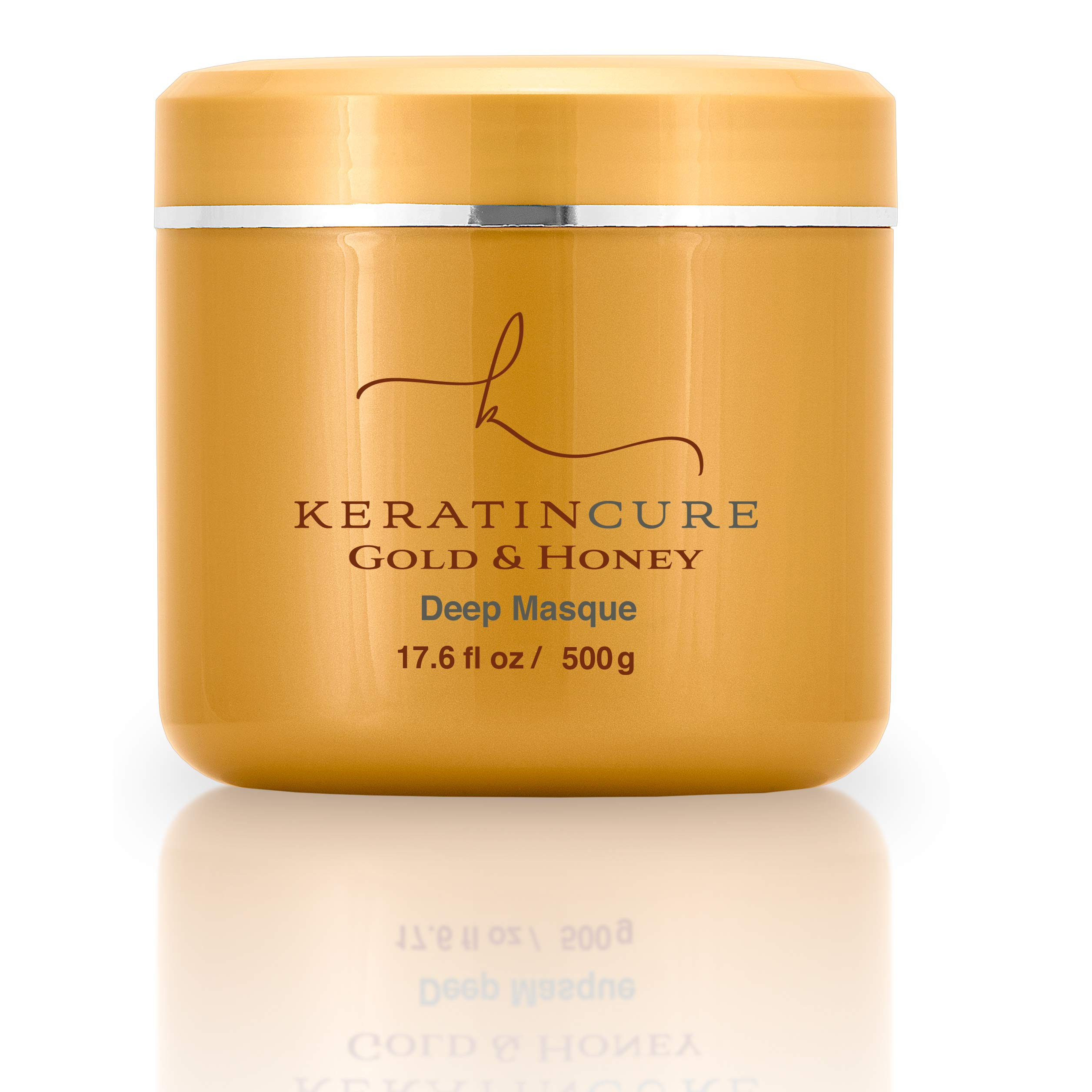 Keratin Cure Gold and Honey Deep Hair Mask Masque Moisturizing Reparation, Argan, Coconut, Marula Oils Strengthen Dry Damaged Hair Promotes Hair Growth Relieves Scalp for all hair types 17 Oz
