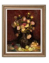 DECORARTS - Vase with Asters and Phlox 1887, Vincent Van Gogh Art Reproduction. Giclee Print& Framed Art for Wall Decor. 30x24, Framed Size: 35x29