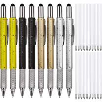 8 Pieces Gift Pen for Men 6 in 1 Multitool Tech Tool Pen Screwdriver Pen with Ruler, Levelgauge, Ballpoint Pen and Pen Refills, Unique Gifts for Men (Gold, Black, Silver, Yellow)