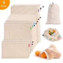 Bagail Essentials Reusable Mesh Produce Bags, ECO-Friendly, Washable, Lightweight, See-Through, Perfect for Grocery, Shopping, Storage, Fruit, Vegetable and Toys(Raw Organic Cotton,9PCS (2L+5M+2S))