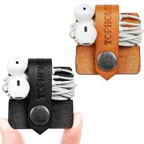 TOPHOME Cord Organizer Earbud Holder Earphones Headphones Winder Keeper Earbuds Case Storage Wrap Headset Genuine Leather Cable Organizer (Black+Orange, Set of 2)