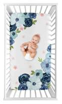 Sweet Jojo Designs Navy Blue and Pink Watercolor Floral Girl Fitted Crib Sheet Baby or Toddler Bed Nursery Photo Op - Blush, Green and White Shabby Chic Rose Flower