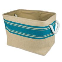 DII Burlap Collapsible Storage Bin with Cotton Handles, Large, Teal