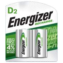 Energizer Rechargeable D Batteries, NiMH, 2500 mAh, 2 count (NH50BP-2),Green and Silver