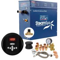 SteamSpa Premium 4.5 KW QuickStart Acu-Steam Bath Generator Package with Built-in Auto Drain in Matte Black   Steam Generator Kit with Control Panel Auto Drain Steamhead 240V   PRR450BK-A