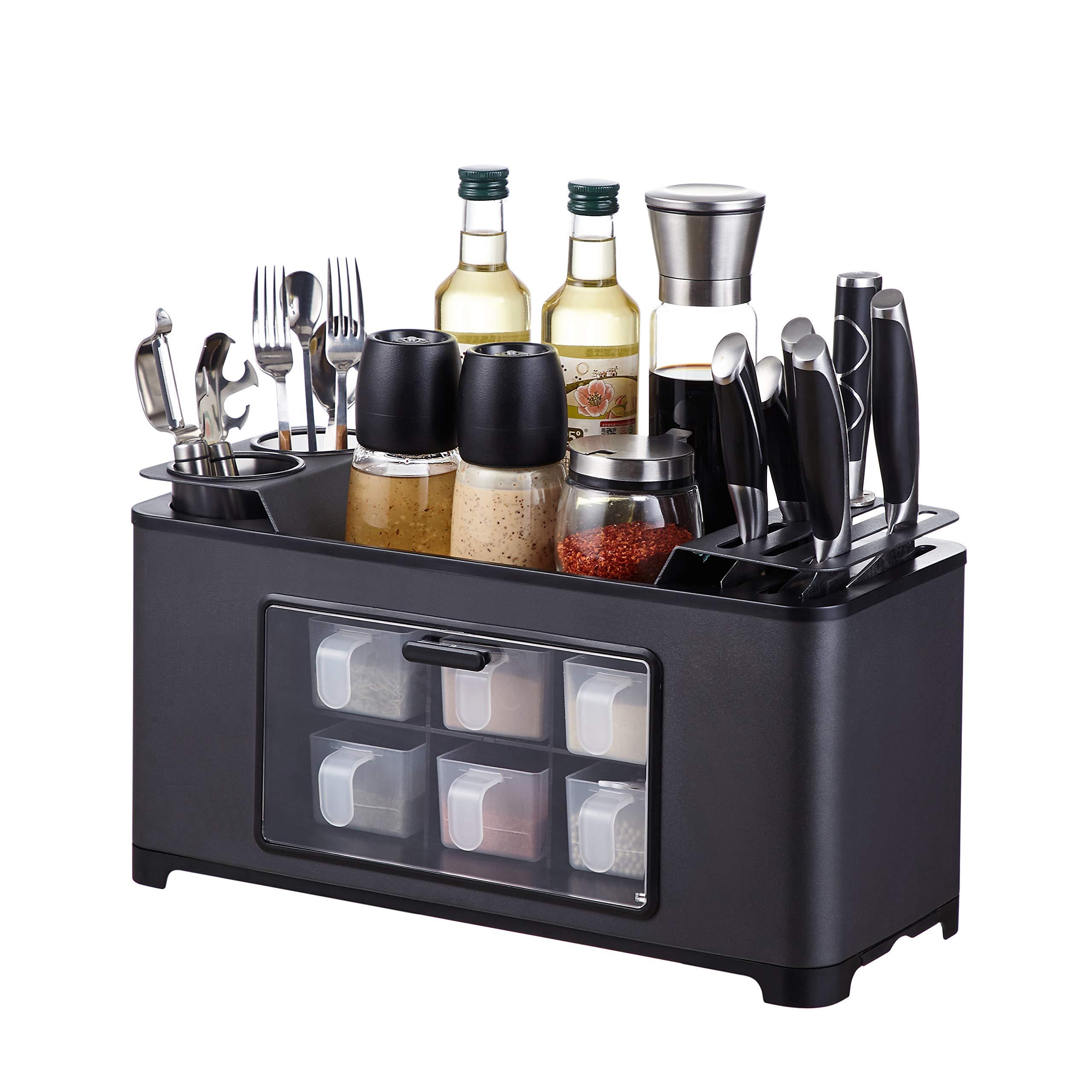 istBoom Spice Storage Box, Black Spice Holder Organizer Rack with Utensil Caddy Knife Holder for Kitchen Pantry