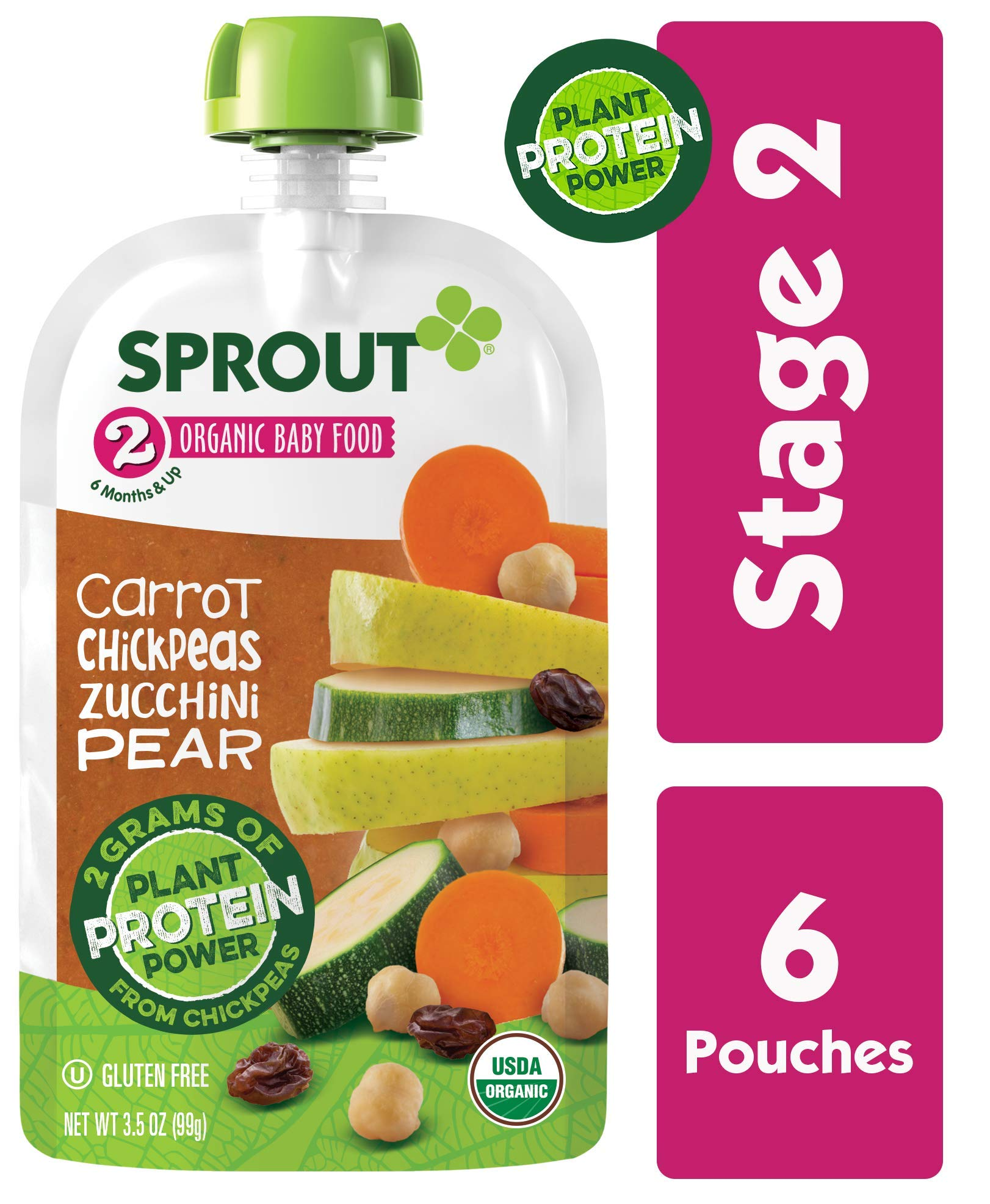 Sprout Organic Baby Food Pouches, Stage 2 Sprout Baby Food, Plant ProteinCarrot Chickpeas Zucchini Pear, 3.5 Ounce (6 Count) 2 Grams of Plant Powered Protein, USDA Organic, Non-GMO, Nothing Artificial