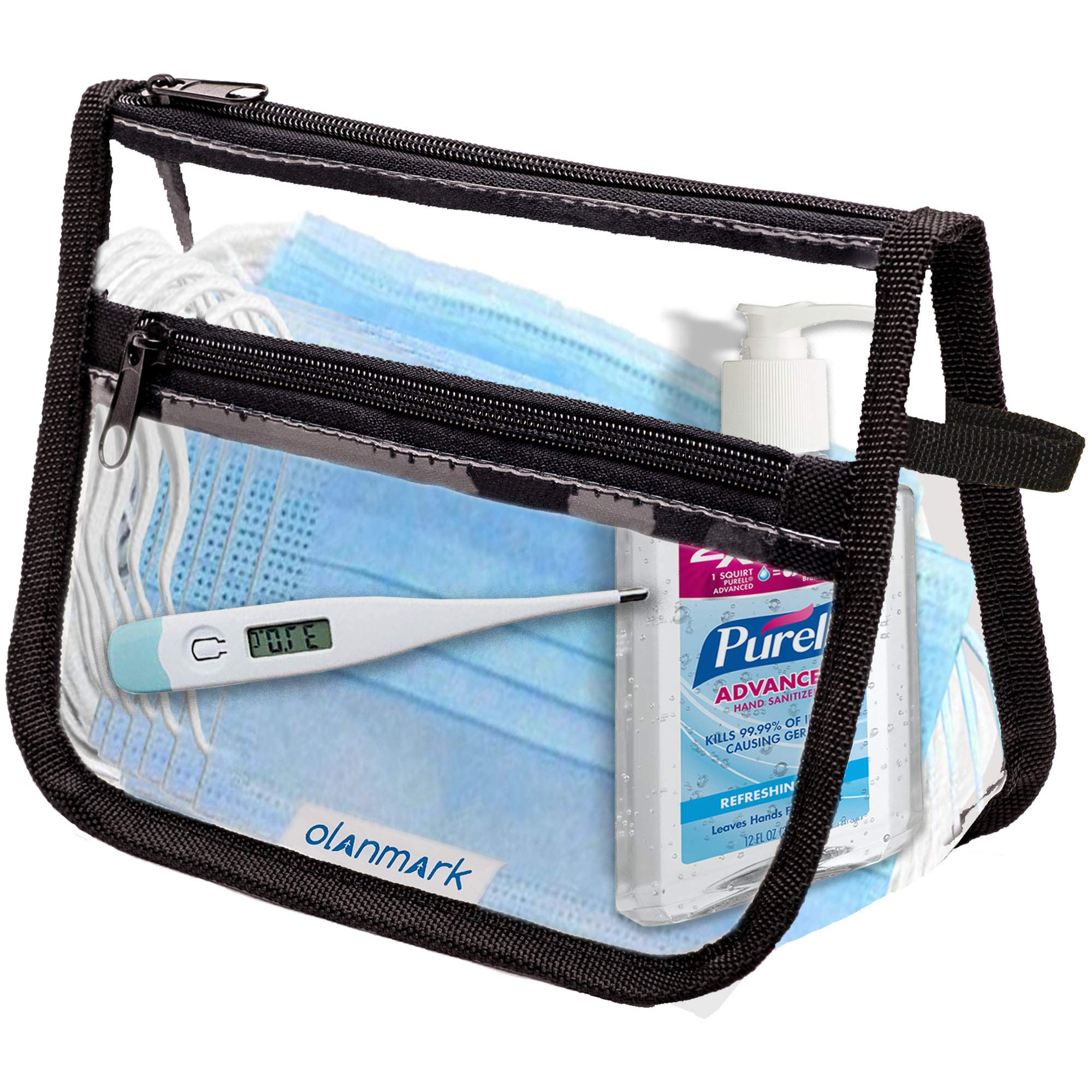 TSA Approved Toiletry Bag with Pocket - Clear Plastic Travel Cosmetic Bag - Reusable Quart Size Bags for Liquids - Airport TSA Compliant Makeup Pouch - Airline Carry-on Luggage Accessories for Women