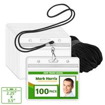 EcoEarth Lanyard with Horizontal ID Badge Holder (Black, 2.25x3.5, 100 Pack), Resealable Clear Tag and Lanyards, Lanyard ID Card Holder Bulk, Name Badge Lanyard Set, Plastic Badge Holder with Zipper