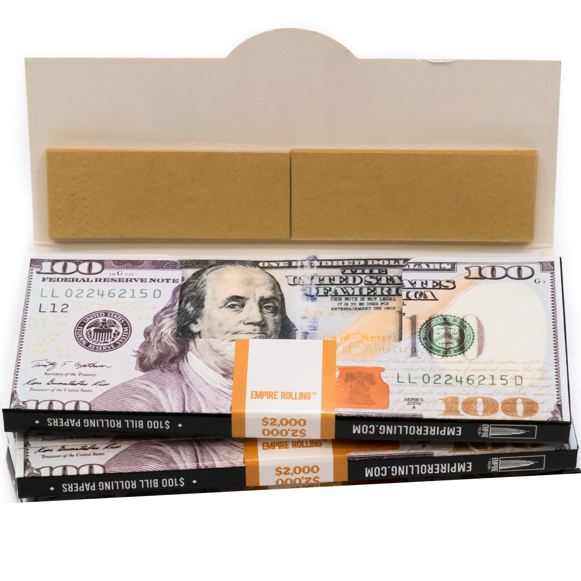 EMPIRE ROLLING - Two Pack Wallets $100 Bill Rolling Paper (40 Papers) King Size Benny | Made from Pure All Natural Ingredients | Premium Quality Paper, Organic, 100% Vegan, Non-GMO, Unbleached