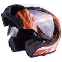 Typhoon G339 Modular Motorcycle Helmet DOT Dual Visor Full Face Flip-up - Orange Small