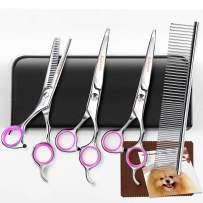 Gimars Titanium Coated 3CR Stainless Steel Dog Grooming Scissors Kit, Heavy Duty Pet Grooming Trimmer Kit - Thinning, Straight, Curved Shears with Comb for Long & Short Hair, Fur for Cat and More Pets