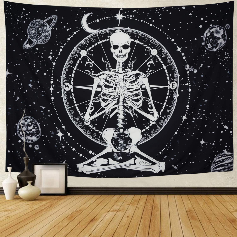 Amonercvita Starry Skull Tapestry Moon Planet Chakra Tapestry Yoga Meditation Skeleton Tapestry Black and White Stars Tapestry for Room (X-Large, Starry Skull)