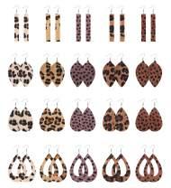LOYALLOOK 20 Pairs Faux Leather Leopard Print Drop Dangle Earrings Hollow Teardrop Leaf Petal Rectangle Bar Lightweight Earrings Set Gift for Women