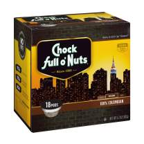 Chock Full o'Nuts 100% Colombian Medium Roast, K-Cup Compatible Pods (18 Count) - 100% Premium Arabica Coffee in Eco-Friendly Keurig-Compatible Single Serve Cups