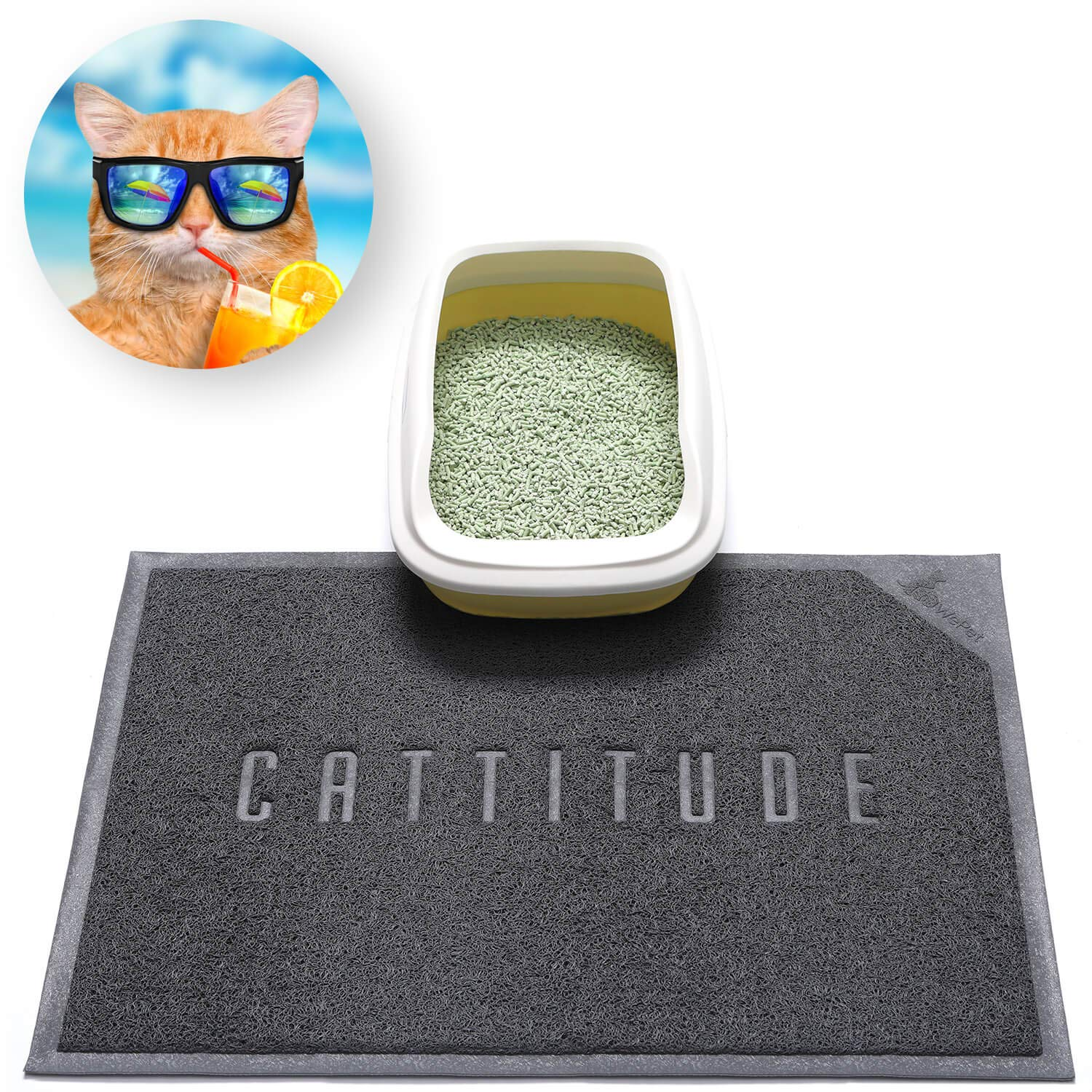 WePet Cat Litter Mat, Kitty Litter Trapping Mat, Premium Durable Soft PVC Rug, Urine Waterproof, Easy Clean, Washable, Scatter Control, Litter Box Tray Carpet