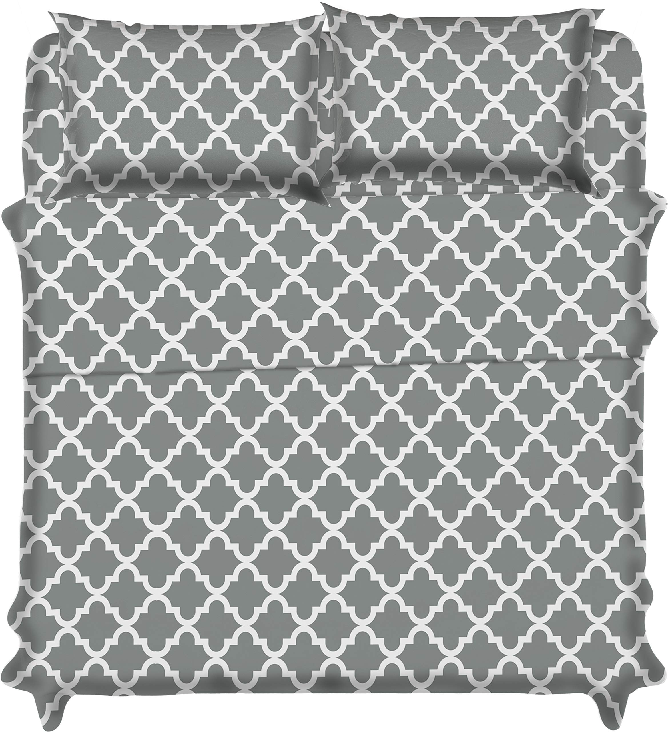 Lux Decor Collection Bed Sheet Set - Brushed Microfiber 1800 Bedding - Wrinkle, Stain and Fade Resistant - Hypoallergenic - 3 Piece (Twin, Quatrefoil Grey)
