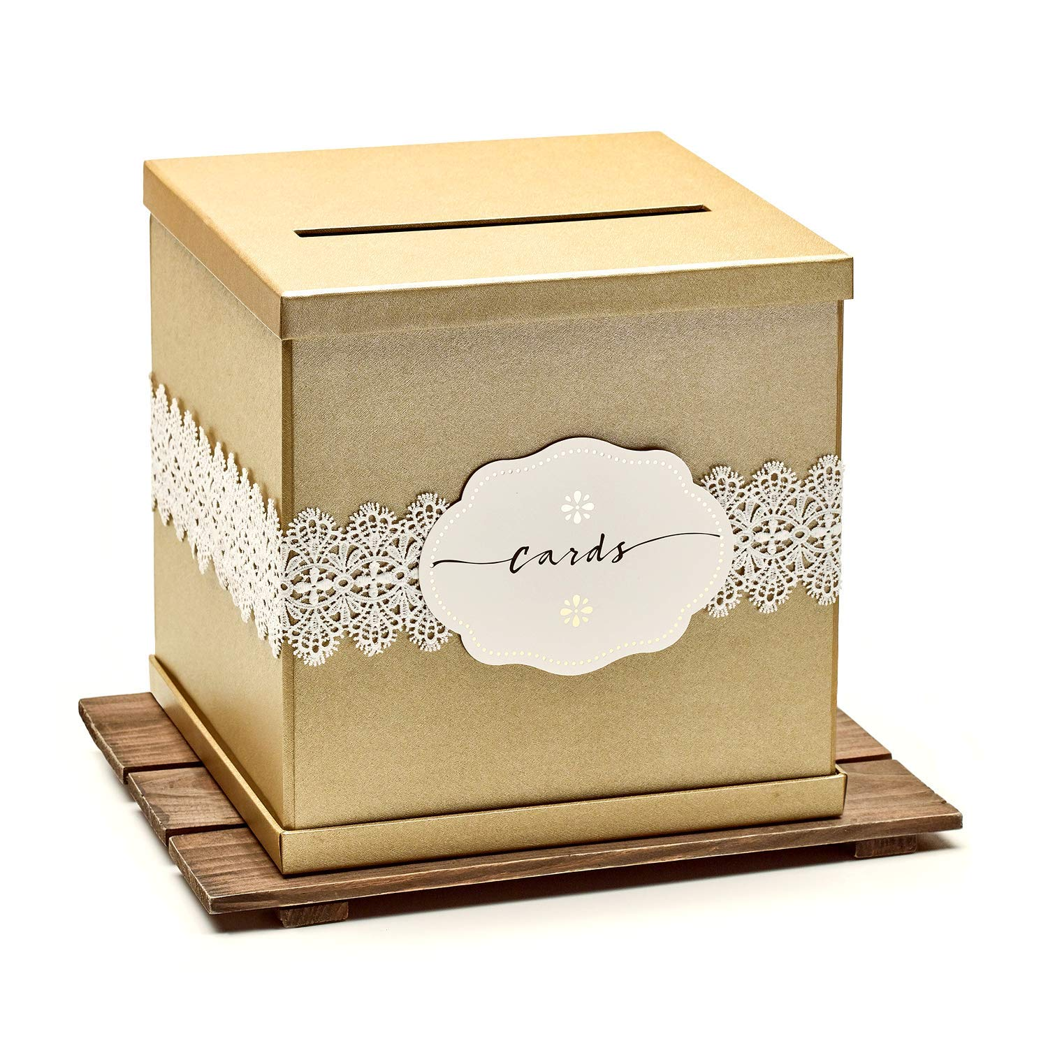 """Hayley Cherie - Gold Gift Card Box with White Lace and Cards Label - Gold Textured Finish - Large Size 10"""" x 10"""" - Perfect for Weddings, Baby Showers, Birthdays, Graduations"""