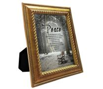 VERSERIES - Peace Picture Frame - Christian Gift and Art - Canvas Photo Frame - Bible Verse Gift - Choose Your Design (Rustic Gold Frame, Set of 1)
