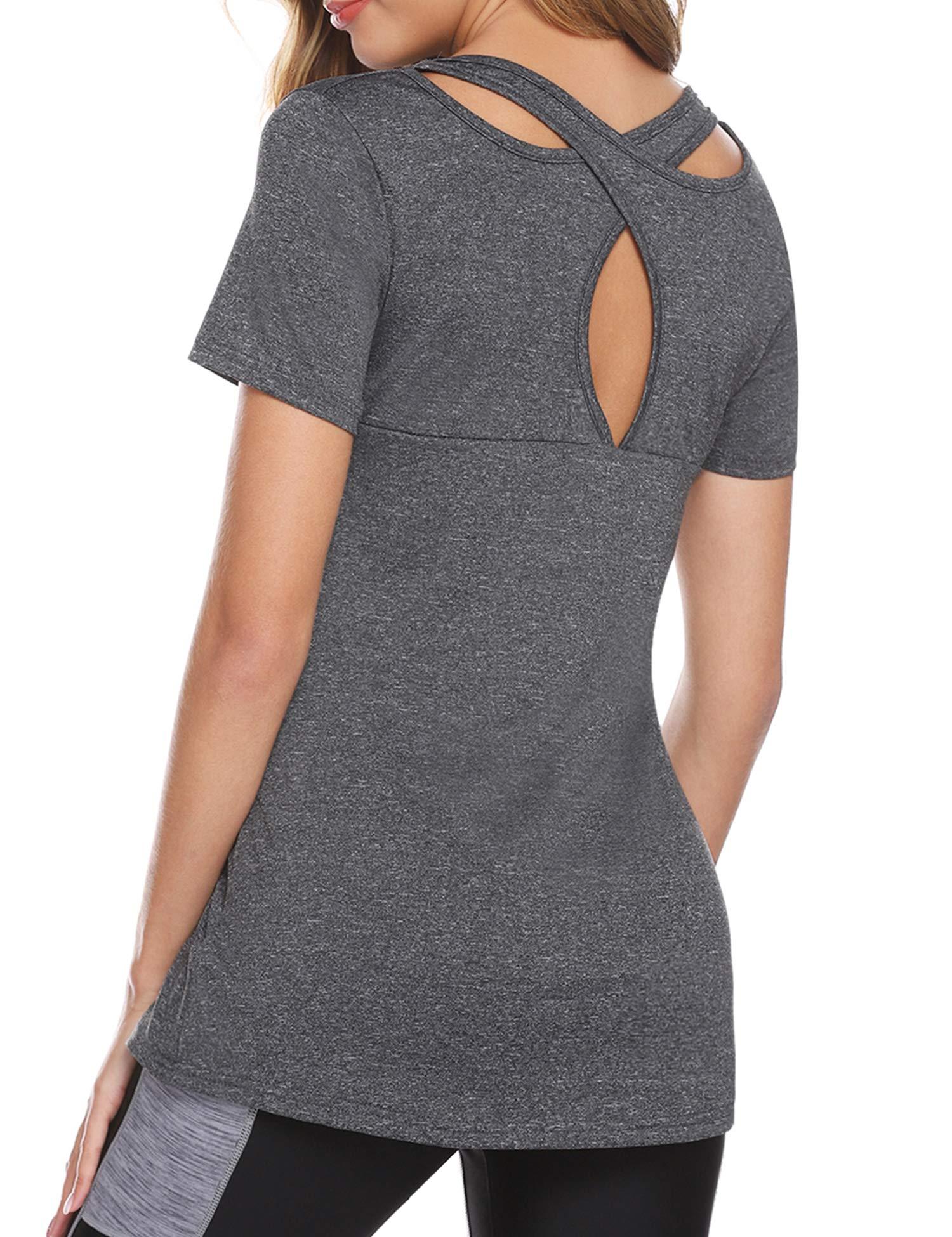 iClosam Women's Yoga Tops Short Sleeve Workout T-Shirt Tunic Top