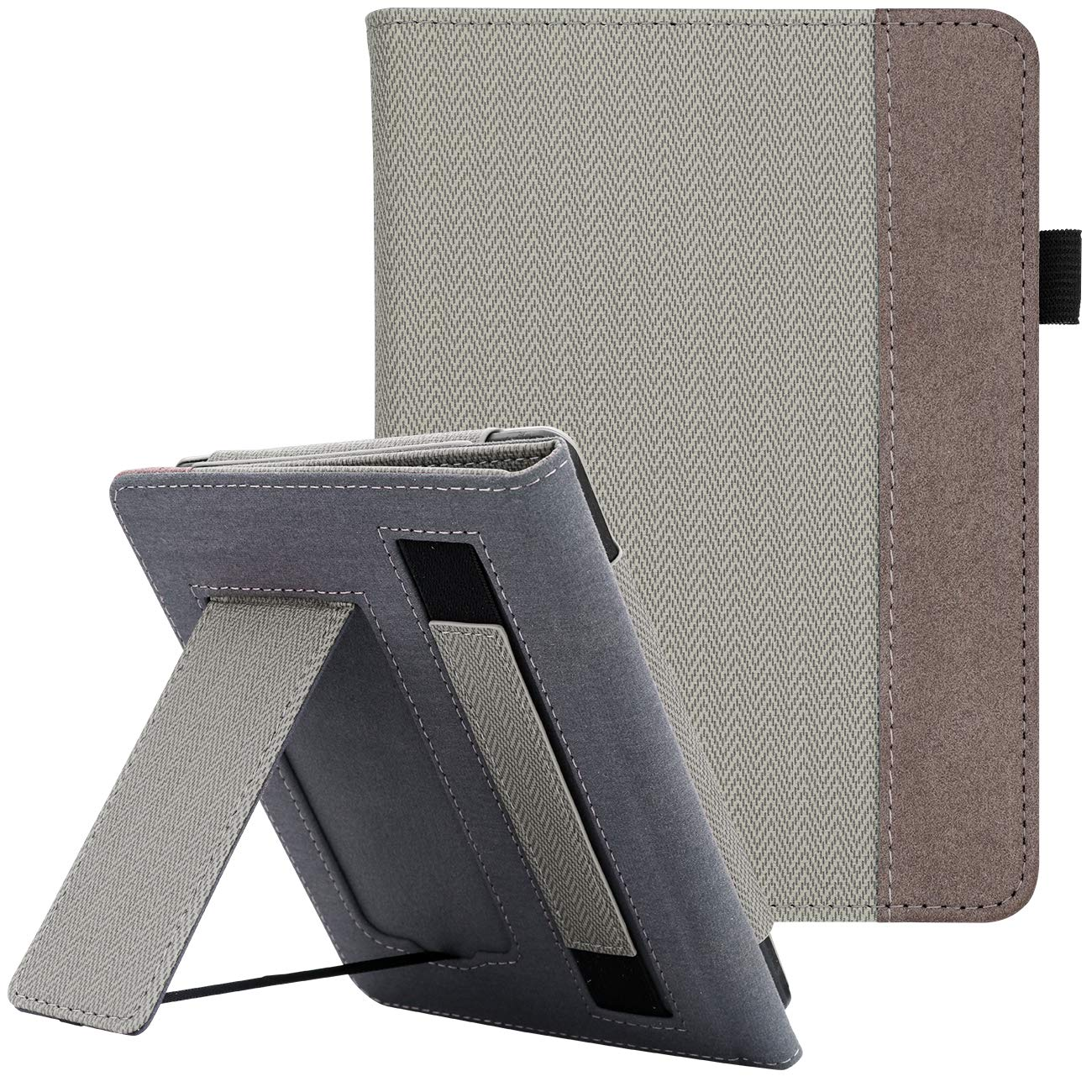 WALNEW Stand Case Fits Kindle Paperwhite 10th Generation 2018 PU Leather Case Smart Protective Cover with Hand Strap (Gray)