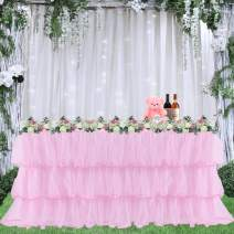 Leegleri Pink Tulle Tutu Table Skirt for Party,Baby Shower,Wedding Chiffon 3 Tier Ruffed Table Skirt for Rectangle or Round Table(14ft table skirt)