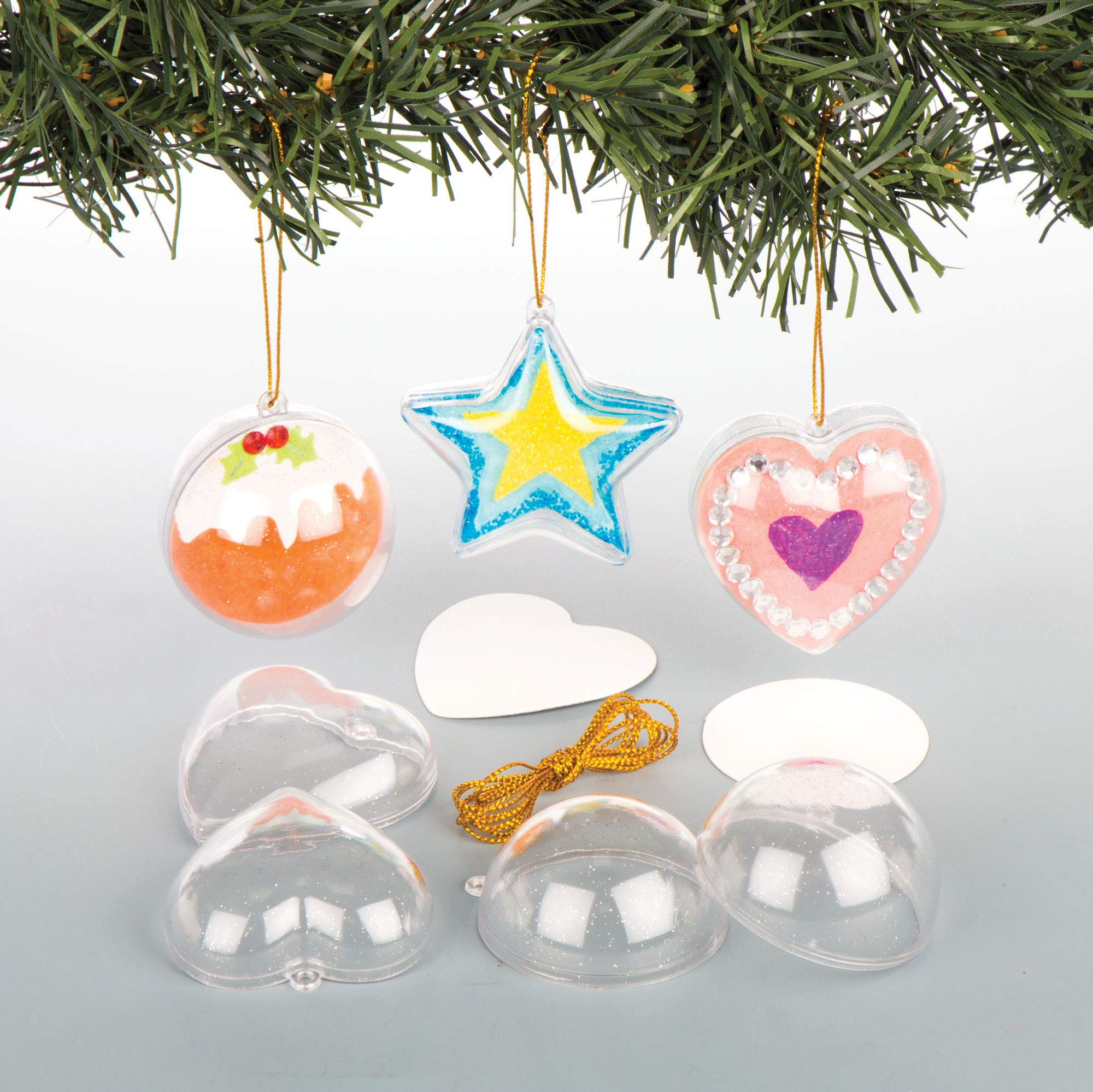 Baker Ross Hanging Glitter Baubles for the Christmas Tree— Creative Art and Craft Supplies for Kids to Make, Personalise and Decorate (Pack of 9)