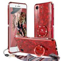 OCYCLONE Glitter Case for iPhone SE 2020 Case, Cute iPhone 8/7 Case, [Marble Pattern Tempered Glass Back] with Ring Stand + Bling Diamond Bumper Women Girls Phone Case for New iPhone SE/ 8/7, Red