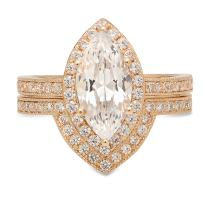 Clara Pucci Marquise Cut Solitaire Halo Bridal Engagement Wedding Anniversary Ring Band Set 14k Yellow Gold, 1.91CT