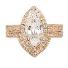 Clara Pucci 2.26 CT Marquise Brilliant Cut CZ Designer Solitaire Designer Pave Double Halo Ring Band Set Solid 14k Yellow Gold