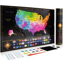 "Premium Scratch Off Map of The United States - Watercolor USA Travel Scratch Map with All States Capitals, Flags and Accessories Included – 11 x 17"" Unique & Detailed Design – Deluxe GlFT Package"