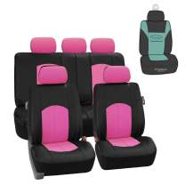 FH Group PU008115 Highest Grade Faux Leather Seat Covers (Pink) Full Set with Gift – Universal Fit for Cars Trucks & SUVs