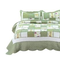 Bedsure 2-Piece Printed Quilt Set Twin Size (68x86 inches), Green Ruffle, Lightweight Coverlet Design for Spring and Summer, 1 Quilt and 1 Pillow Sham