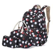 H HIKKER-LINK Polka Dot School Backpack Set Bookbag&Lunch Bag&Pencil Case Black