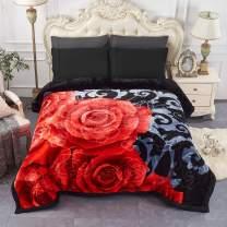 "JML Heavy Fleece Blanket, Plush Velvet Korean Style Mink Blanket Queen Size 79""x91"", Two Ply Reversible Raschel Blanket - Silky Soft Wrinkle and Fade Resistant Thick Bed Warm Blanket, Black Floral"