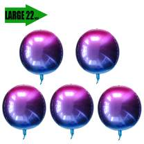 5 Count 22 Inch 4D Large Round Aluminum Foil Balloons Self-Sealing Disco Fever Mirror Metallic Hangable for Party Birthday Party Wedding Baby Shower Marriage Decor Supplies Purple