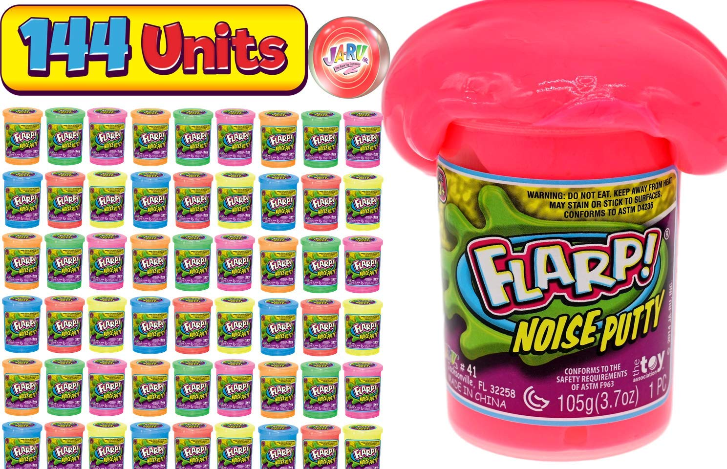 JA-RU Flarp Noise Putty Scented (144 Units Assorted) Squishy Sensory Toys for Easter, ADHD Autism Stress Toy Party Favors in Bulk Party Supplies Fidget for Kids and Adults Boys & Girls. 10041-144p