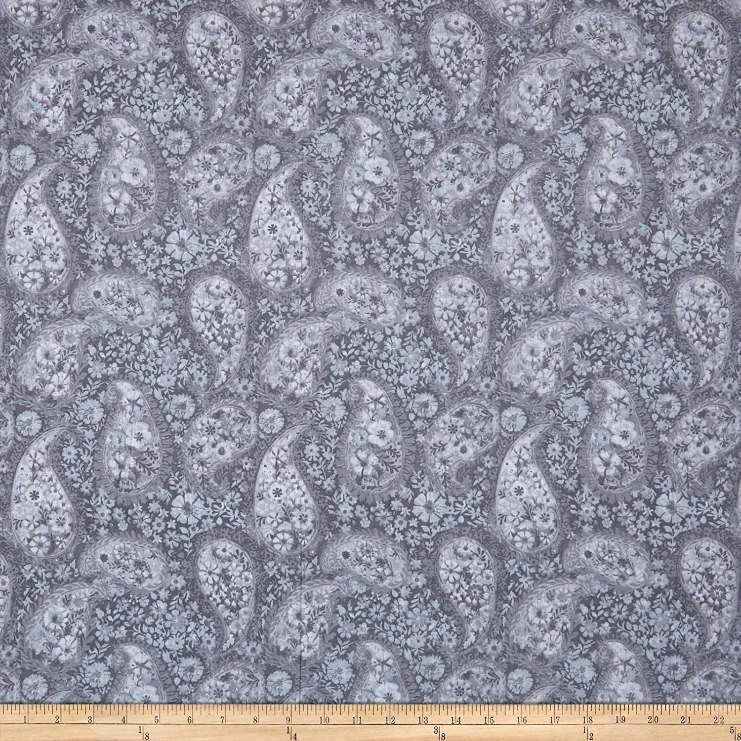 "Santee Print Works Grey 108"" Wide Back Paisley Fabric by The Yard"