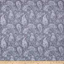 """Santee Print Works Grey 108"""" Wide Back Paisley Fabric by The Yard"""