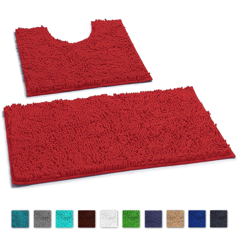 LuxUrux Bathroom Rugs Luxury Chenille 2-Piece Bath Mat Set, Soft Plush Anti-Slip Bath Rug +Toilet Mat.1'' Microfiber Shaggy Carpet, Super Absorbent Machine Washable Bath Mats (Curved Set, Red)