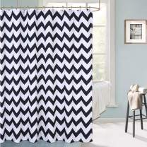 "Haperlare Black Fabric Shower Curtain for Bathroom, Extra Long Hotel Luxury Chevron Striped Geometric Design, Water Resistant, 72"" x 78"" for Decorative Bathroom Curtains, Black and White"