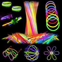 Attikee 452 PCS Glow Sticks Bulk, Glow Party Favors, 8 Inch 7 Colors 200 PCS Glow Sticks & 252 PCS Connectors for Eyeglasses Balls Necklaces Bracelets, Glow in Dark Light Sticks for Kids Adults