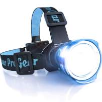 Outdoor Pro Gear Lighthouse Beacon 1000 LED Headlamp - 1 Tool 1000 Jobs - Camping Hunting Fishing Running Caving Hiking Search and Rescue - Rugged Zoomable Super Bright Head Lamp Spotlight (Blue)