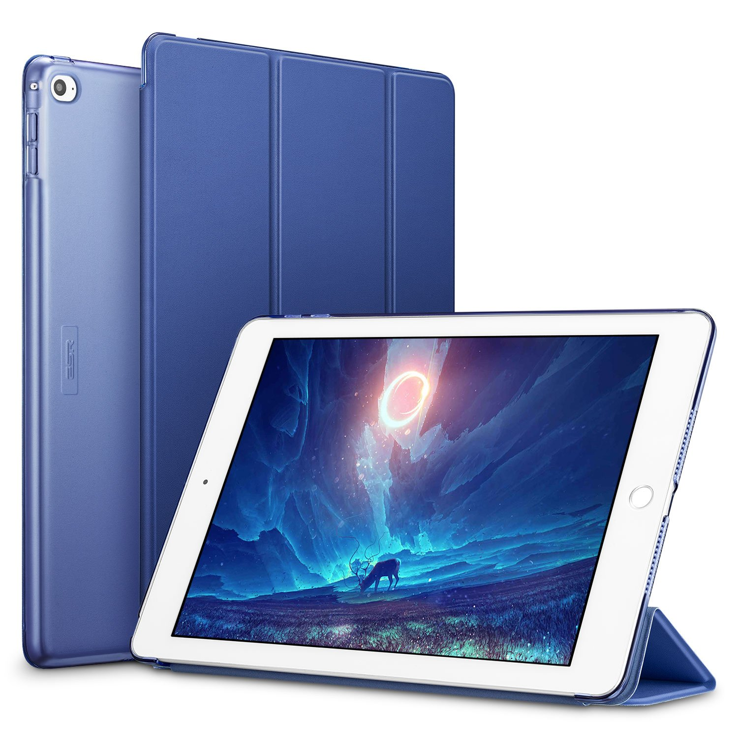 ESR Yippee Smart Case for The iPad Air 2, Smart Case Cover [Synthetic Leather] Translucent Frosted Back Magnetic Cover with Auto Sleep/Wake Function [Light Weight] (Navy Blue)