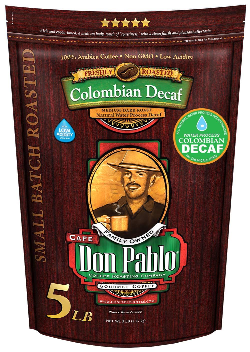 5LB Cafe Don Pablo Decaf Swiss Water Process Colombian Gourmet Coffee Decaffeinated - Medium-Dark Roast - Whole Bean Coffee - 5 Pound ( 5 lb ) Bag